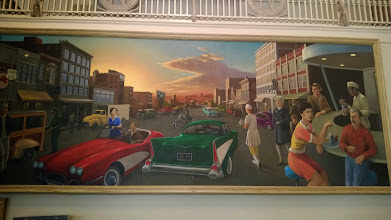 Photo: August 7-This mural, adjacent to the previous one, is by Benton's grandson depicting Joplin life in the fifties and sixties.