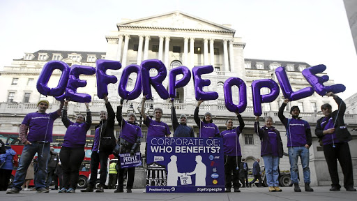 Easy now: Protesters at the Bank of England in 2016 in a call for quantitative easing which favours people over financial institutions. Picture: REUTERS