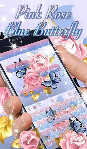 Download Pink Rose Blue Butterfly Keyboard Theme MOD APK 1