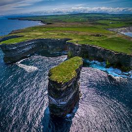 Downpatrick Head by Jim Hamel - Landscapes Travel ( water, downpatrick head, cliffs, ireland, mayo )