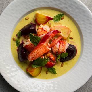Butter-Poached Lobster with Asparagus-Saffron Cream and Roasted Beets.