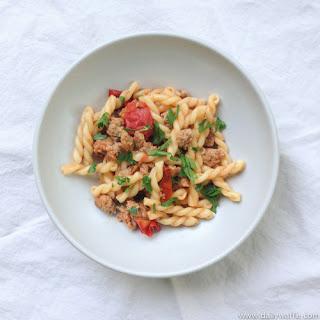 Gemelli con Salsiccia e Pomodorini (aka Italian Sausage & Cherry Tomatoes).