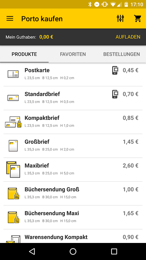 Post mobil- screenshot