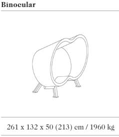 Technische tekening van de Binocular zitbank uit de collectie van Escofet 1886