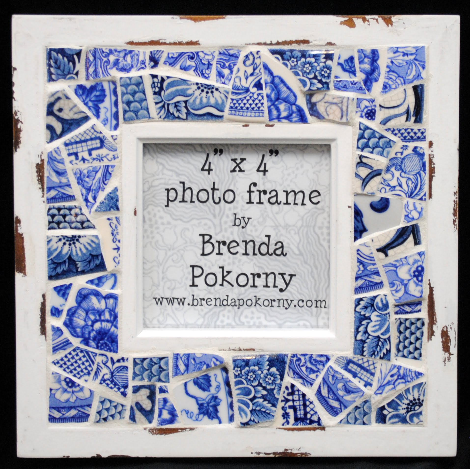 "MOF1445 4"" x 4"" Blue & White Porcelain Mosaic Photo Frame"