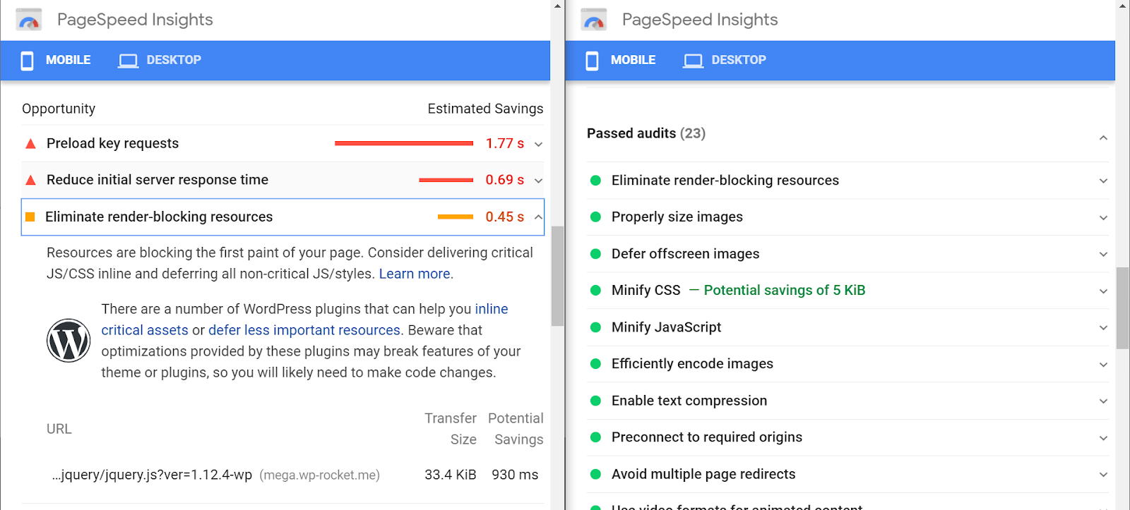 PageSpeed Insights audit
