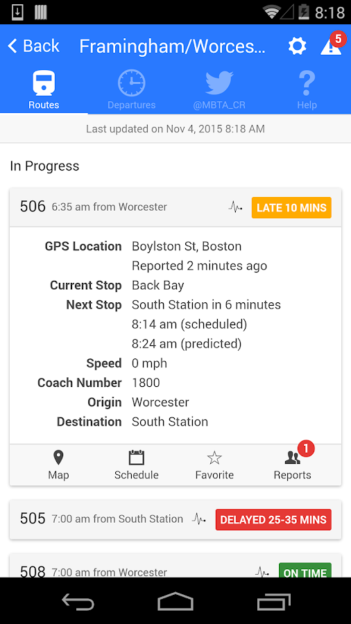 MBTA Commuter Rail Tracker- screenshot