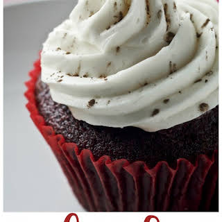 Red Velvet Cupakes with Amaretto Vodka Cream Cheese Frosting.