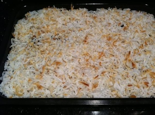 LIGHTLY BAKE COCONUT ON BAKING SHEET FOR ABOUT 5 MINUTES ON 375 STIRRING OCCASIONALLY...