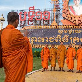 monaci  by Mauro Rotisciani - People Street & Candids ( religion, orange, asia, men, travel, monaci, cambodia )