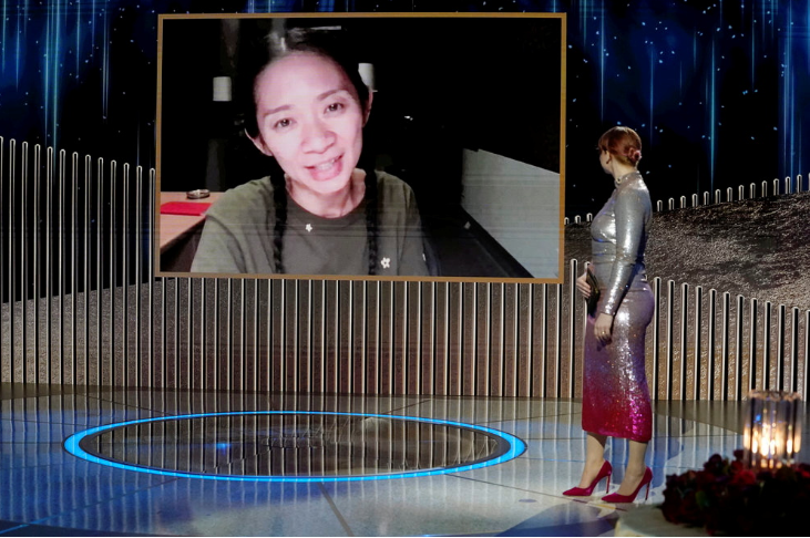 Chloe Zhao accepts the Best Director - Motion Picture award for 'Nomadland', via video in this handout photo from the 78th Annual Golden Globe Awards.