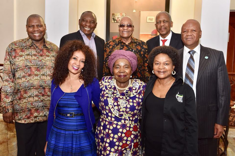 President Jacob Zuma and dinner guests. From the left are Zweli Mkhize, Lindiwe Sisulu, Cyril Ramaphosa,Nkosazana Dlamini-Zuma, Jacob Zuma, Mathews Phosa, Baleka Mbete and Jeff Radebe. Picture: ANC/FACEBOOK