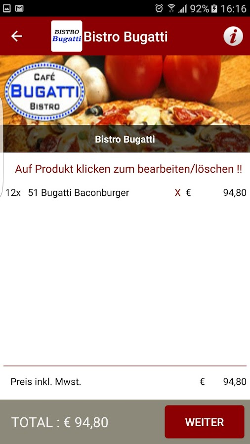 Lieferservice bistro bugatti android apps on google play for Bugatti pizza