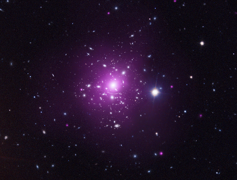 Photo: Abell 383: Getting a Full Picture of an Elusive Subject http://chandra.harvard.edu/photo/2012/a383/  Two teams of astronomers have used data from Chandra and other telescopes to map the distribution of dark matter in three dimensions in the galaxy cluster Abell 383. The dark matter in Abell 383 is stretched out like a gigantic football with the point of the football aligned close to the line of sight. The X-ray data (purple) from Chandra in the composite image show the hot gas, which is by far the dominant type of normal matter in the cluster. Galaxies are shown with the optical data from the Hubble, the Very Large Telescope, and the Sloan Digital Sky Survey, colored in blue and white.