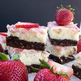 Brownie Bottom Strawberry & White Chocolate Cheesecake
