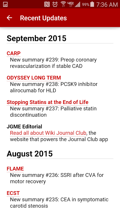 Journal Club for Android- screenshot