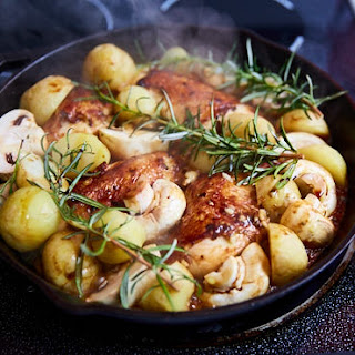 Oven Roasted Chicken Breast with Potatoes and Mushrooms