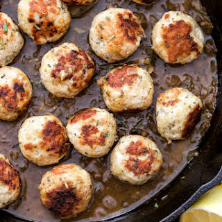 Skillet Lemon Rosemary Turkey Meatballs.