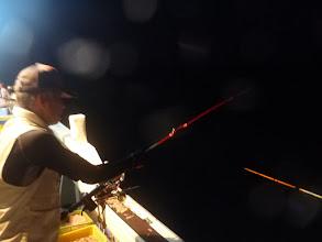"Photo: 日も沈み、「夜釣り」スタート! 早速、""タムラさん""!"