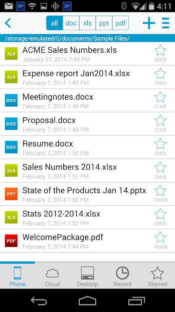 Docs To Go™ Free Office Suite Android App Screenshot