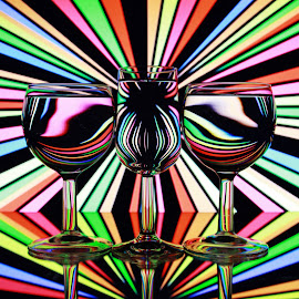 lines in glasses by Peter Salmon - Abstract Patterns