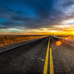 Road to Success by Matthew Clausen - Landscapes Sunsets & Sunrises ( sky, blue, sunset, yellow, road )