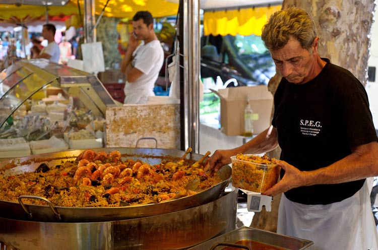 Preparing paella on the streets of St. Tropez.