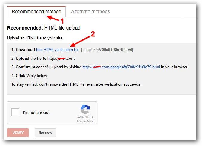Cara mengunggah file verifikasi google web master tool