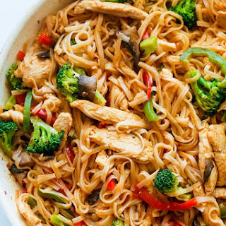 Chicken Stir Fry with Rice Noodles (30 minute meal).