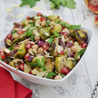 Brussels Sprouts, Chickpeas & Pomegranate Chipotle Salad with Tahini Maple Dressing [vegan]