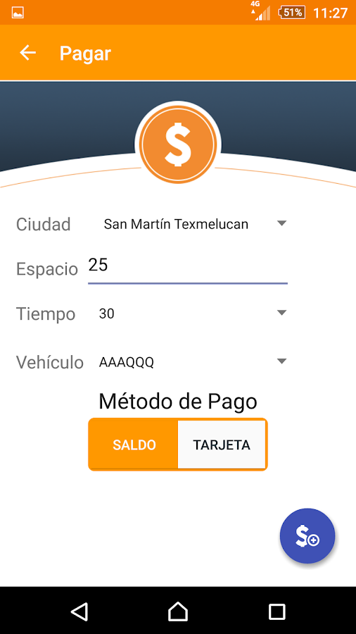Parkimovil: captura de pantalla