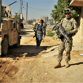 On patrol In Kirkuk, Iraq by Benito Flores Jr - City,  Street & Park  Neighborhoods ( army, city, buildings, patroll, iraq, american,  )