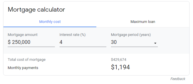 $250k mortgage at 4% interest, representative of buying a house in 2018