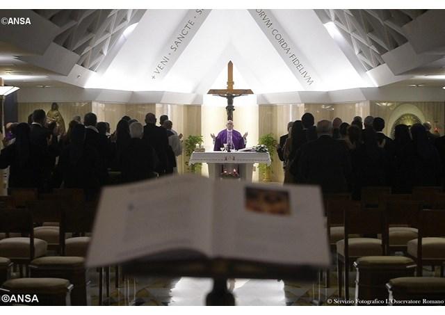 Pope Francis celebrates morning Mass at the Casa Santa Marta. - ANSA