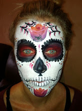 Photo: Sugar Skull face paint by Tess, Los Alamitos, Ca. Call to Book Tess at 888-750-7024