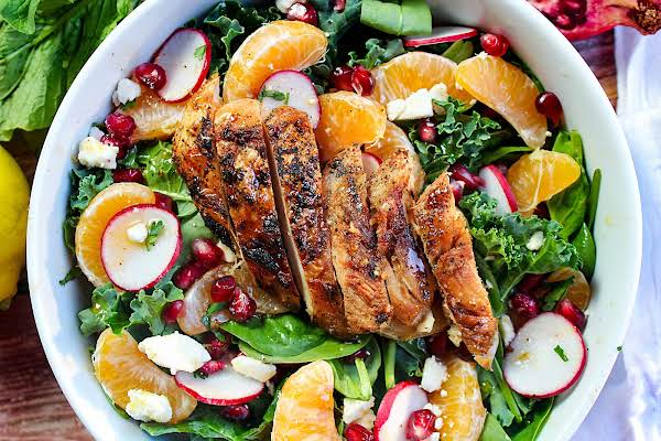 Citrus And Feta Salad With Homemade Honey-lime Dressing And Grilled Chicken On Top.