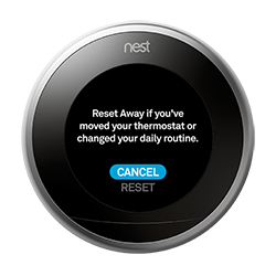 nest thermostat reset away