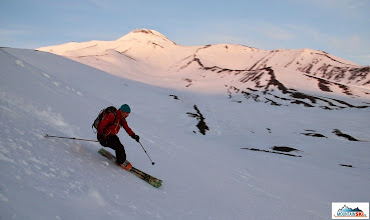 Photo: Matus is skiing down the Camel with Avachinsky in the background