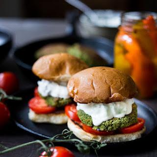 Falafel Burgers with Tzatziki.