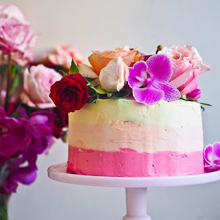 Ombre Vanilla Cake With Tahini Orange Blossom Buttercream Frosting.