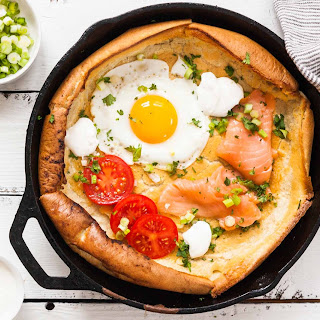 Savory Dutch Baby Pancake with Salmon and Fried Egg.