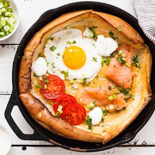 Savory Dutch Baby Pancake with Salmon and Fried Egg.