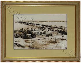 """Photo: Мост Патона, 1959 год. Киев. Фотография на холсте, обрамлена в багет и паспарту для ПАО """"Банк 3/4"""""""