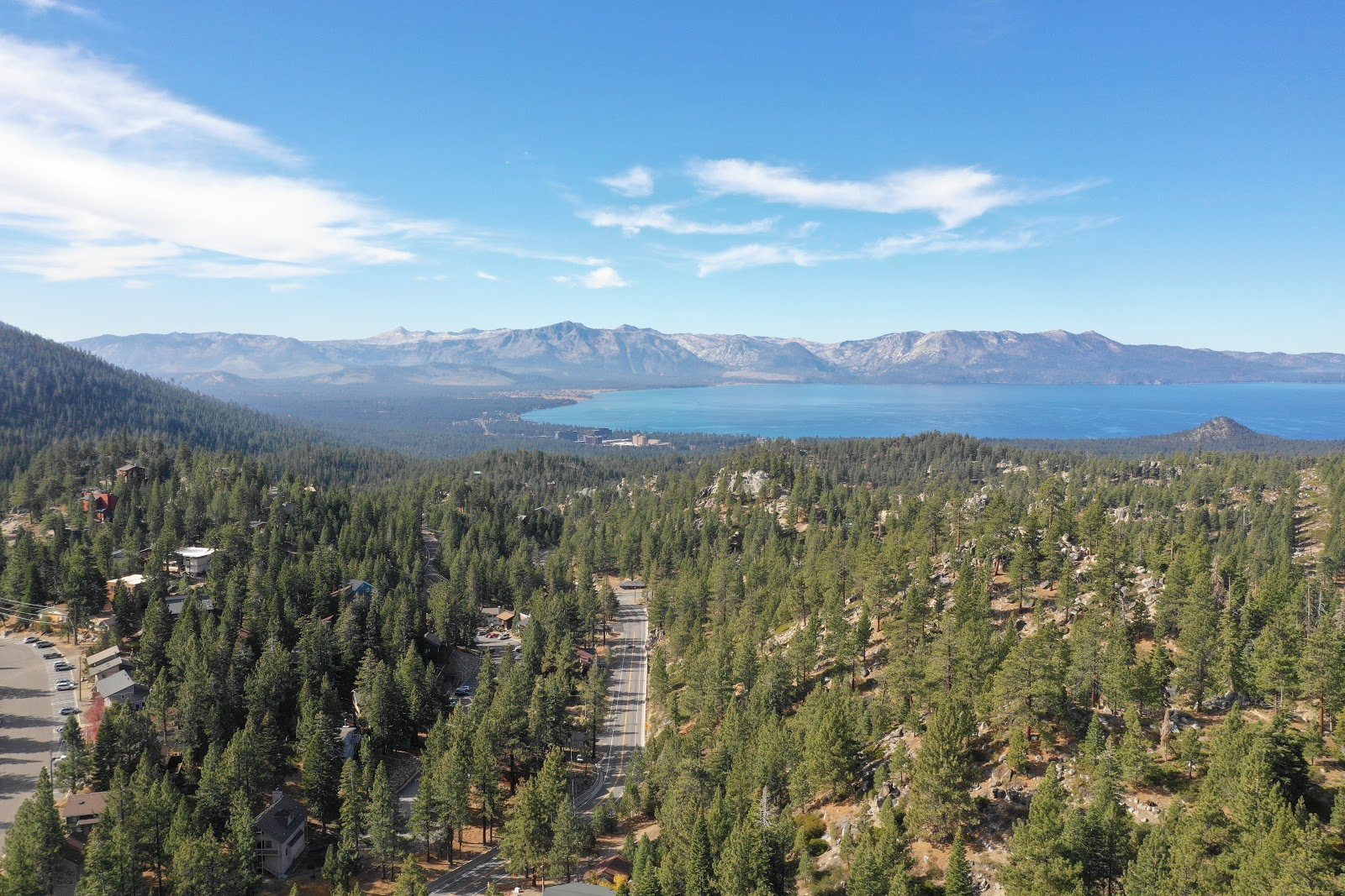 Drone photo of Lake Tahoe from Daggett Pass and Kingsbury Grade.