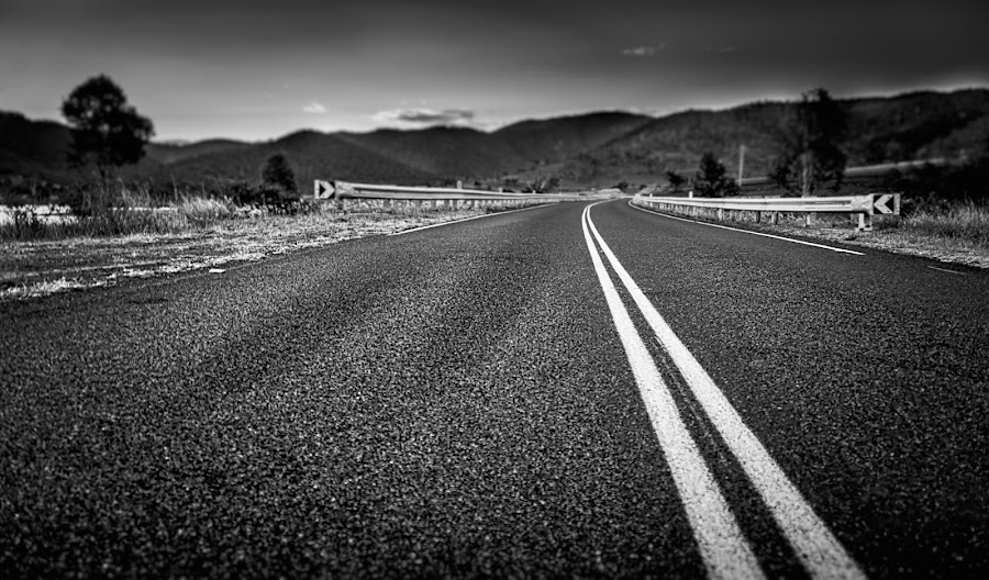 Destination Unknown by Alex Bogdan - Black & White Landscapes ( sad, texture, mood, road, black abd white, quiet, blur, country, leading lines, lighting, textured, lines, scenery, blind )