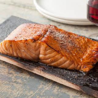 Planked Salmon with Honey-Balsamic Glaze.