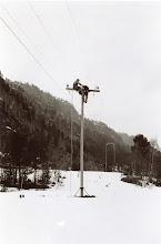 Photo: Kobl.arbeid i stolpe for strøm, omformer, Åseral?? 60-årene