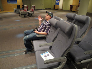 Photo: Brandon testing out the recaro seats at Dreamliner Gallery