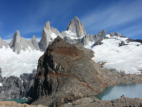 Photo: View of both Lakes, and Mount Fitz Roy. There is a small fiver and waterfall between both Lakes.