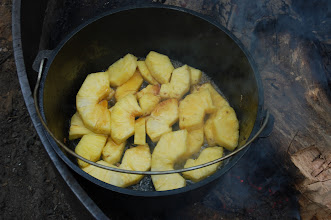 Photo: Carmelizing more pineapple - in pork juices & our special ingredient: Camp Birch maple syrup